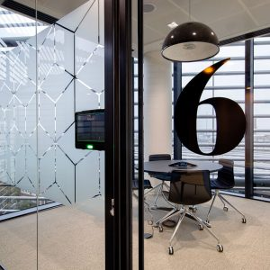 clear single glazed partition